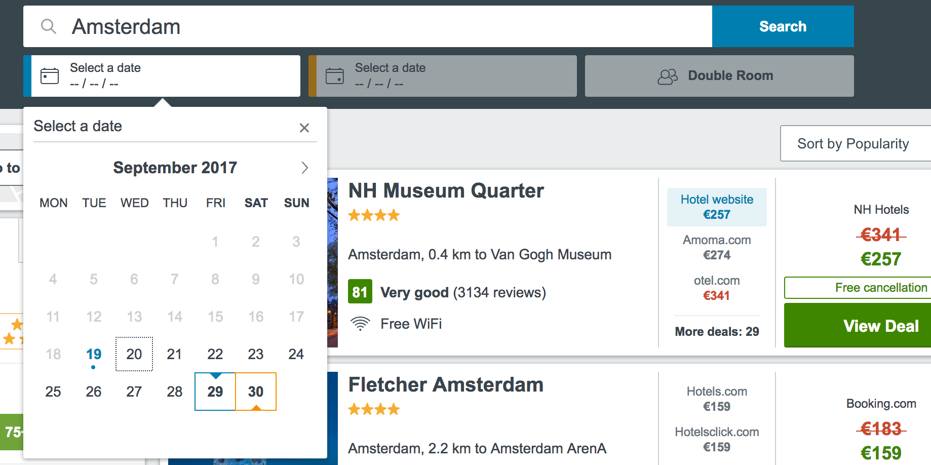 A screenshot of the calendar widget on the trivago website, open, with the keyboard focus on the 20th September