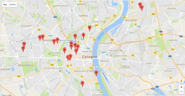 Map of billboard locations in Cologne