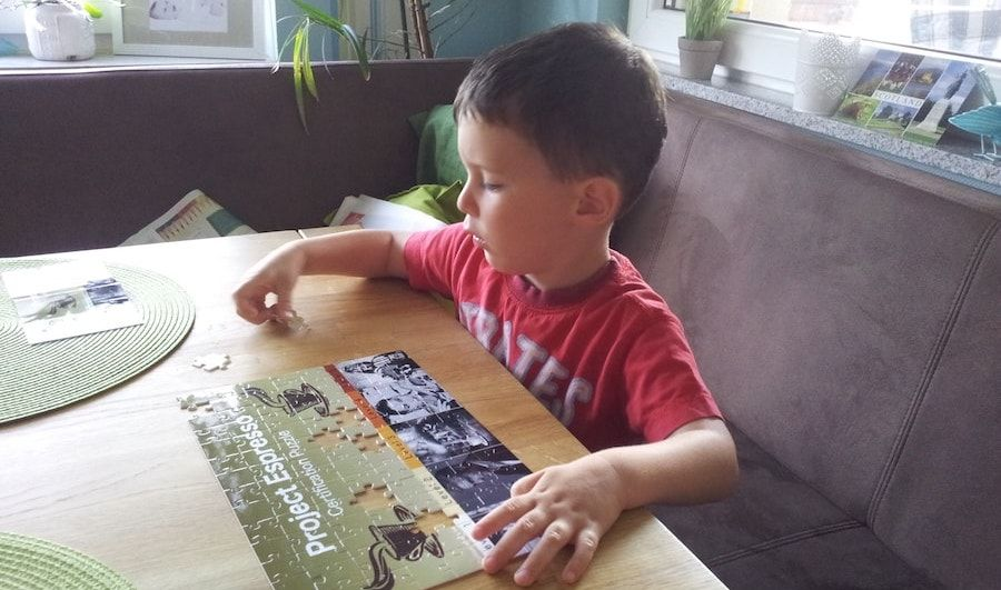 Little boy helping with the puzzles