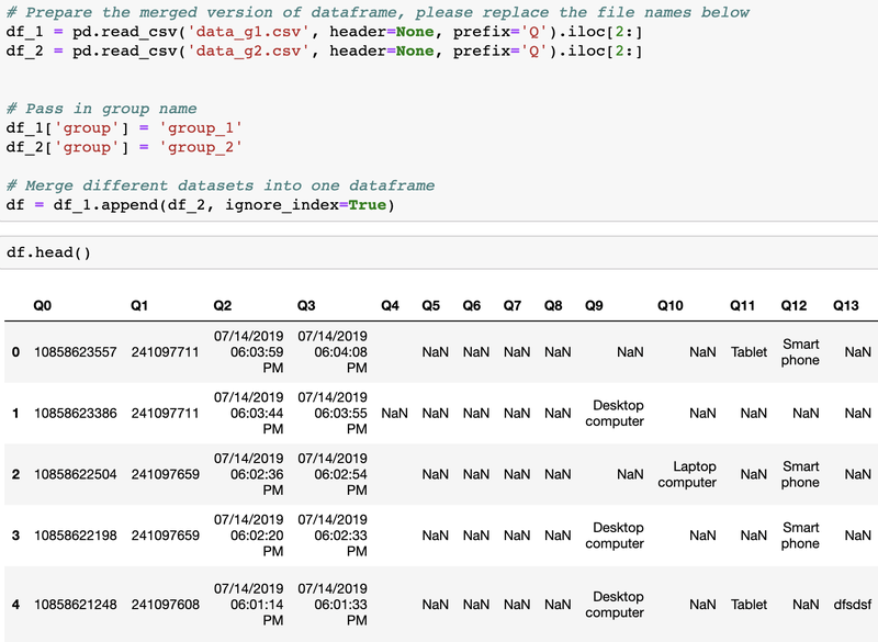 The merged data from the two surveys in an iPython notebook