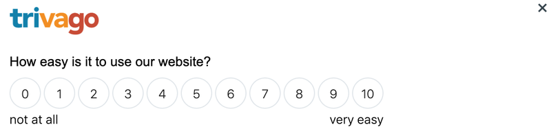 "A screenshot of a survey on trivago with a poll asking ""How easy is it to use this website from 0 to 10?"""