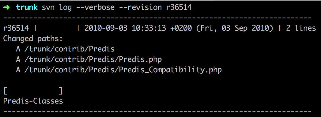 Predis svn commit