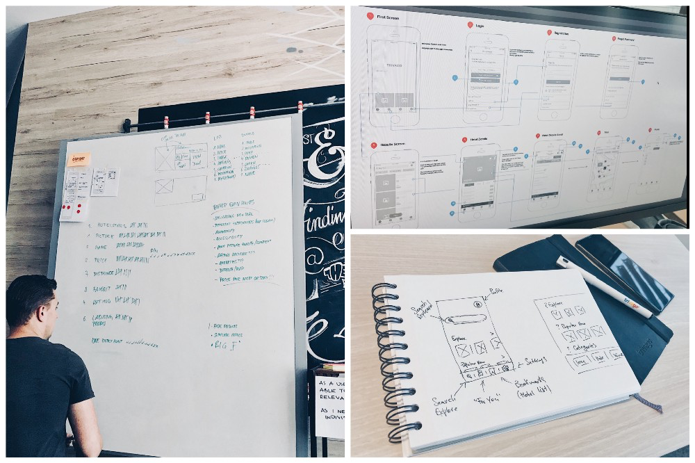 Some of the ideations, sketches and wireframes during our workshops and designs sprints